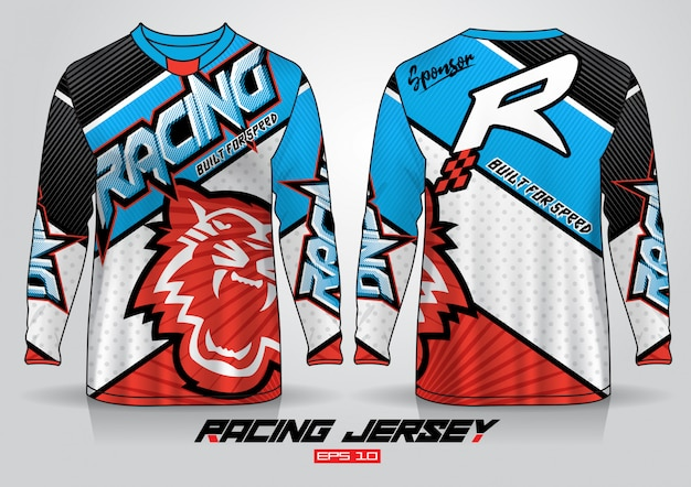 Langarm-t-shirt-design. motor racing uniform vorder- und rückansicht. Premium Vektoren