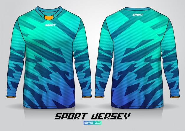Langarm-t-shirt-entwurfsvorlage, einheitliche vorder- und rückseite. vektor Premium Vektoren
