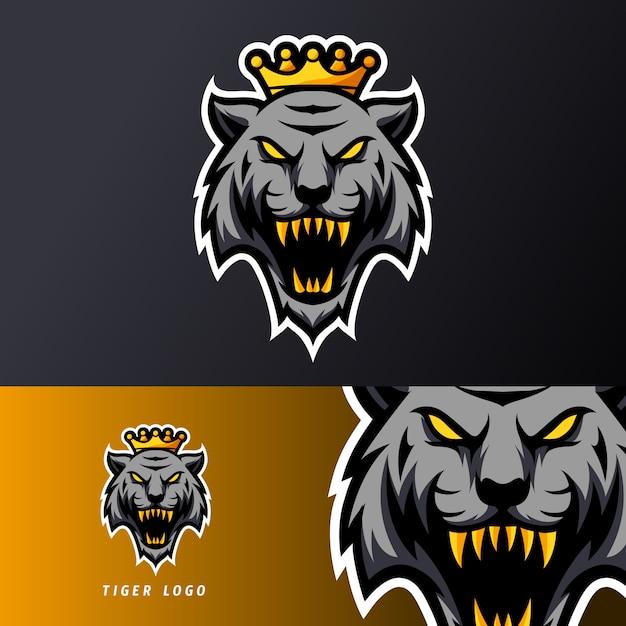 Lange reißzähne der schwarzen verärgerten tiger-königmaskottchensport-esport-logo-schablone Premium Vektoren