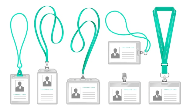 Lanyard-ausweis. inhaber eines bürozugangsausweises mit halsseil, ausstellerausweisdesign. Premium Vektoren