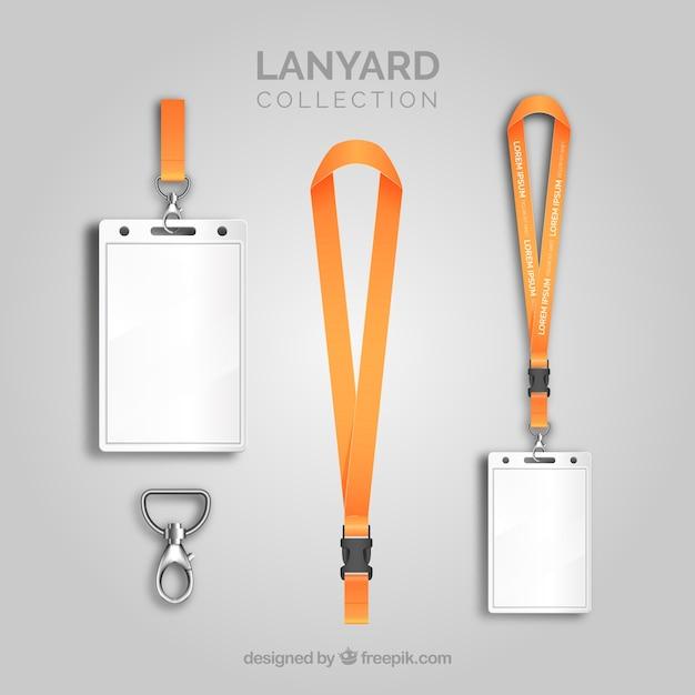 Lanyard-kollektion mit realistischem design Kostenlosen Vektoren