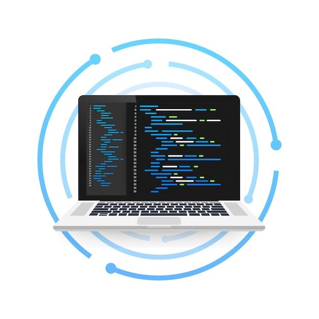 Laptop-codierungskonzept. webentwickler, programmierung. laptop-bildschirmcode. illustration. Premium Vektoren