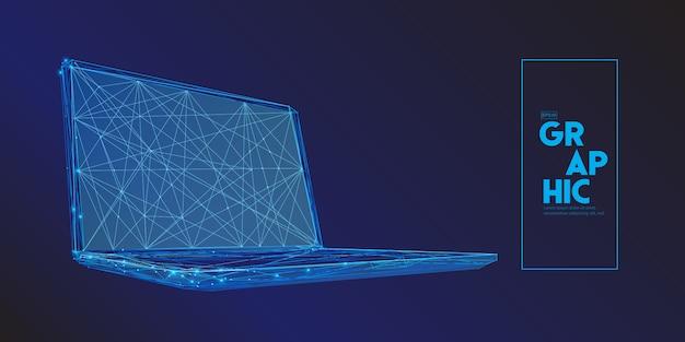 Laptop-computer bestehend aus polygonen. Premium Vektoren