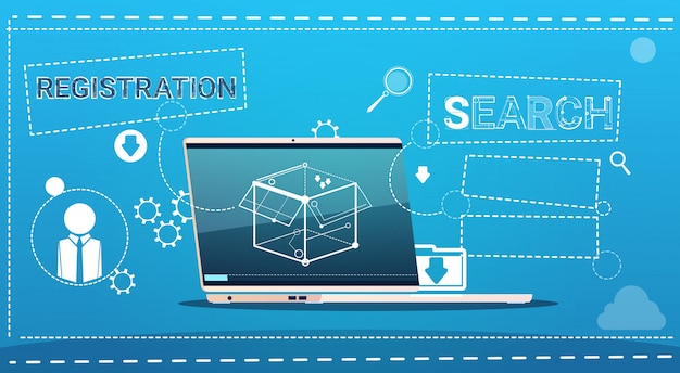 Laptop-computer-daten-suchregistrierungs-konzept Premium Vektoren