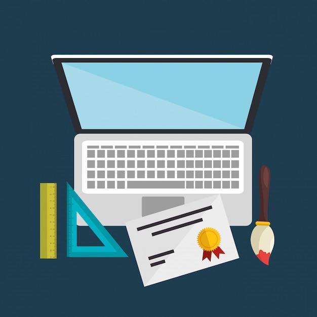 Laptop-computer mit einfachen lernsymbolen Kostenlosen Vektoren