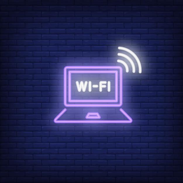 Laptop-computer und wi-fi-neon-text Kostenlosen Vektoren