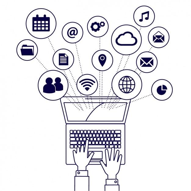 Laptop Elemente Symbole Kostenlose Vektoren