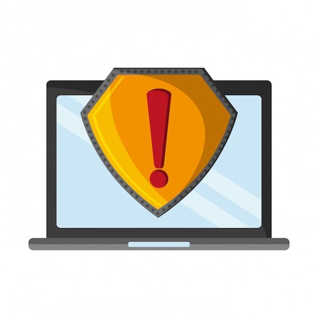 Laptop mit aufmerksamkeitszeichen Premium Vektoren