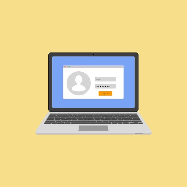 Laptop mit autorisierung auf dem bildschirm. login und passwort des benutzers. melden sie sich beim system oder konto an. illustration Premium Vektoren