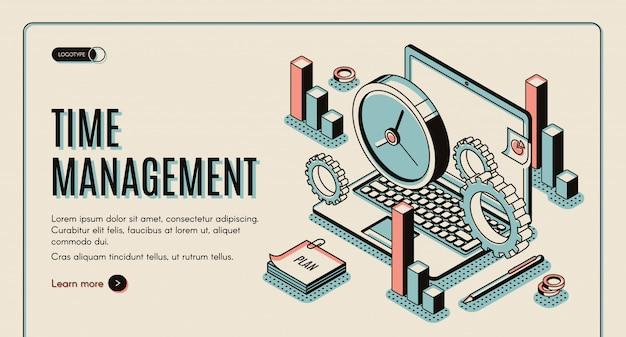 Laptop mit büroausstattung und uhren, aufgabenpriorisierung, organisation für effektive produktivität. Kostenlosen Vektoren