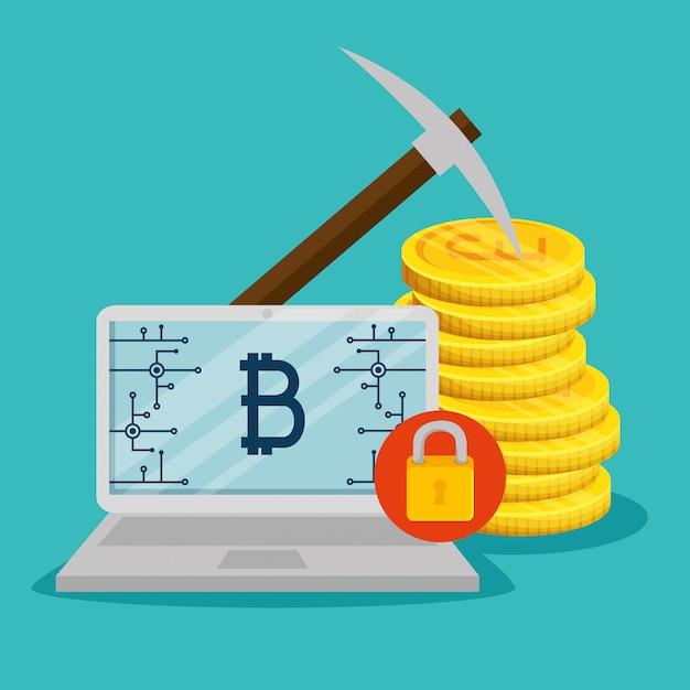 Laptop mit elektronischer währung und münzen bitcoin Kostenlosen Vektoren