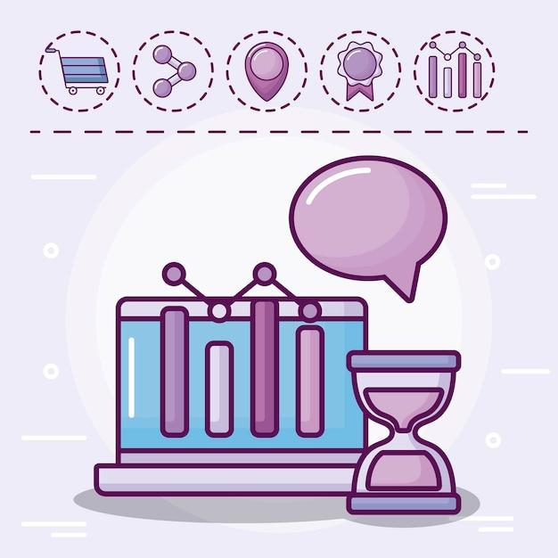 Laptop mit infografik und icons Kostenlosen Vektoren