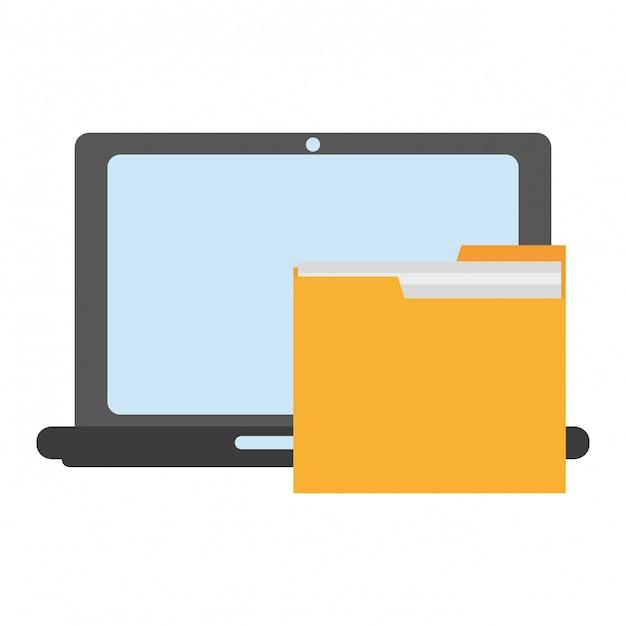Laptop mit ordnersymbol Premium Vektoren