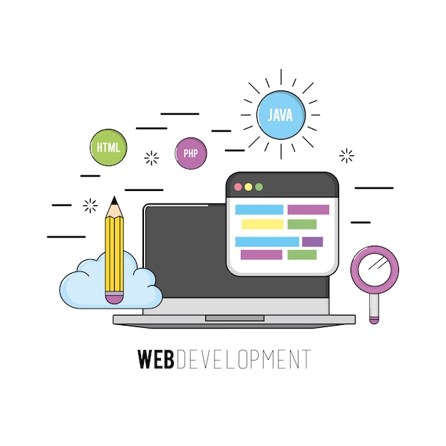 Laptop mit programmcode-softwaredaten Premium Vektoren