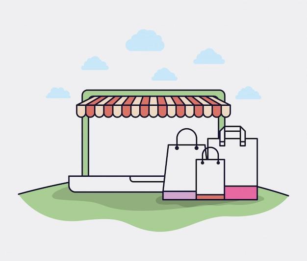 Laptop mit Sonnenschirm- und Geschäftsverkehrikonen vector Illustrationsdesign Premium Vektoren