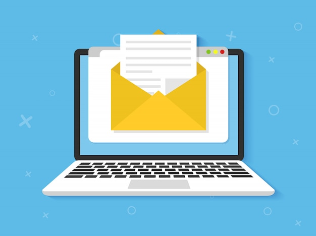 Laptop mit umschlag auf dem bildschirm. e-mail, e-mail-symbol flach Premium Vektoren