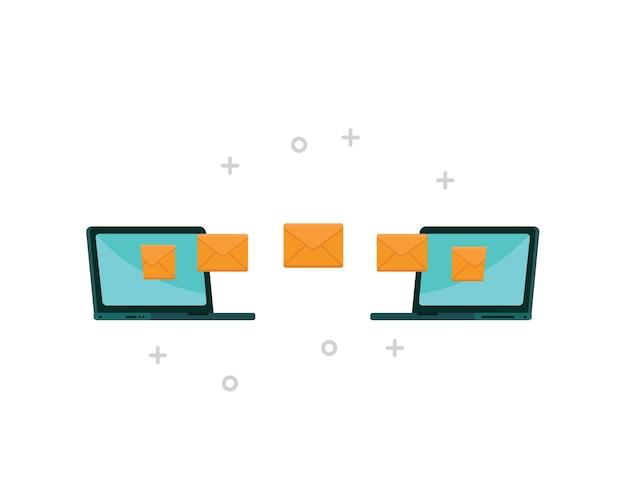 Laptop sendet e-mails an andere mit internetverbindung Premium Vektoren