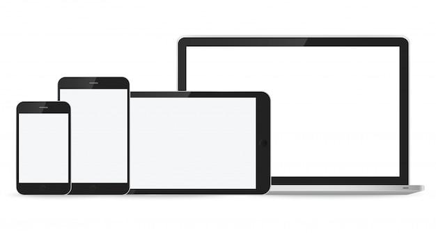 Laptop-, smartphone- und tablettenmodell auf weiß Premium Vektoren