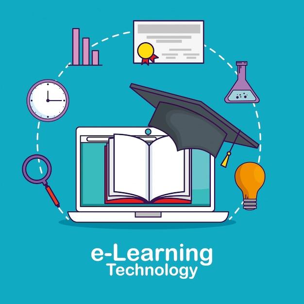 Laptop-technologie mit buch und statistikleiste Kostenlosen Vektoren
