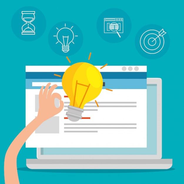 Laptop-technologie mit website-office-informationen Kostenlosen Vektoren