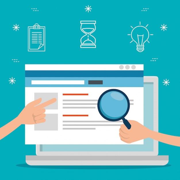 Laptop-technologie und strategie-website-daten Kostenlosen Vektoren