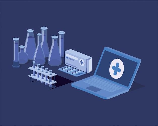 Laptop-telemedizinservice mit röhrentests Premium Vektoren