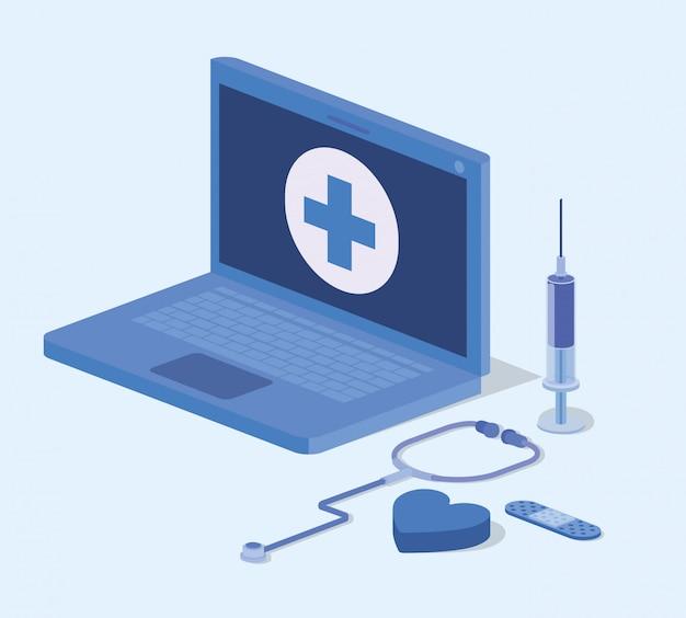 Laptop-telemedizinservice mit stethoskop Premium Vektoren
