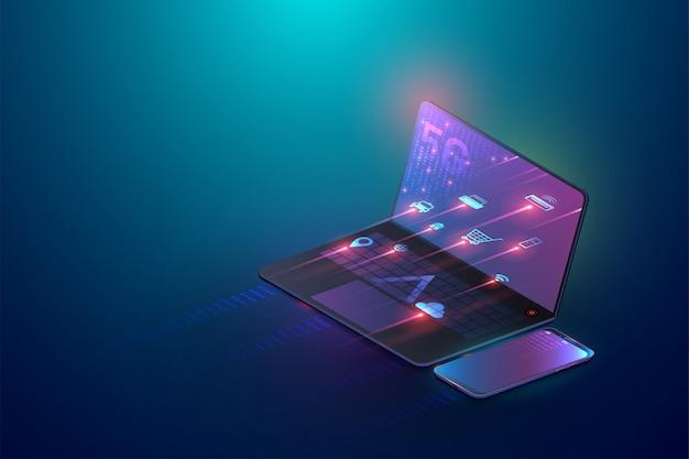 Laptop und drahtlose tablette 5g schließen zusammen isometrisches konzept 3d an Premium Vektoren
