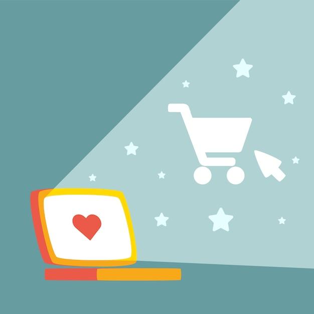 Laptop und einkaufswagen Premium Vektoren