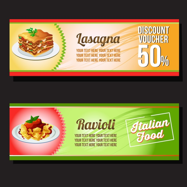 Lasagne und ravioli gutschein rabatt Premium Vektoren