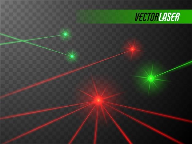 Laserstrahlen lokalisierten glühenden roten und grünen laser Premium Vektoren