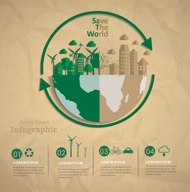 Lassen sie uns gemeinsam die welt infografik retten. Premium Vektoren