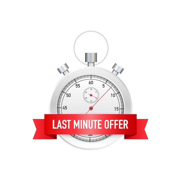 Last-minute-angebot button zeichen, wecker countdown. illustration. Premium Vektoren
