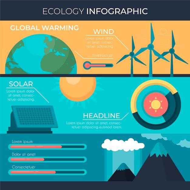 Lat ökologie infografik mit retro-farben Kostenlosen Vektoren