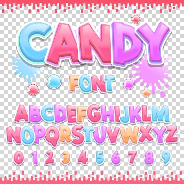 Lateinische schriftart für süßigkeiten Premium Vektoren