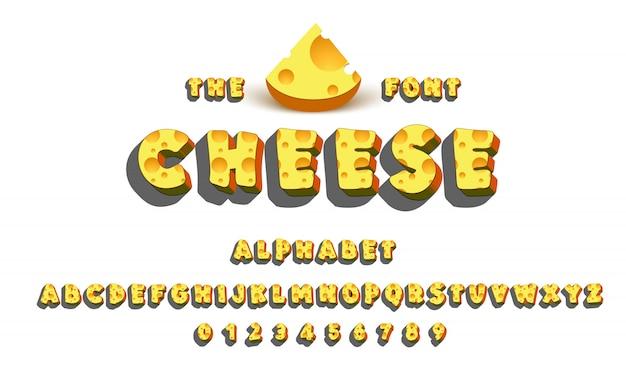 Lateinisches alphabet - käse. Premium Vektoren