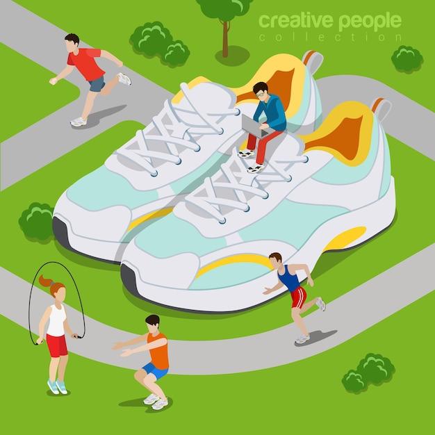 Laufen im freien sportleben konzept. isometrie isometrische art website illustration. Premium Vektoren
