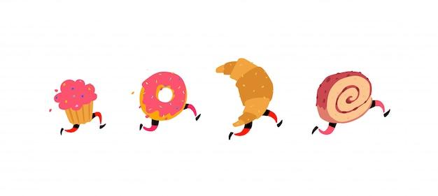 Laufen kuchen, donut, croissant und brötchen. Premium Vektoren