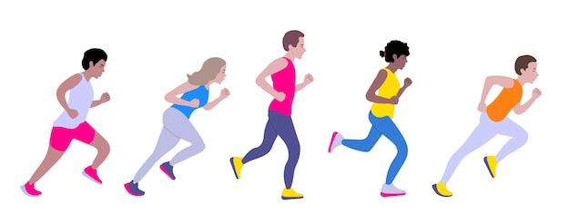 Laufen männer und frauen. vielfältige gruppe junger leute läuft. Premium Vektoren