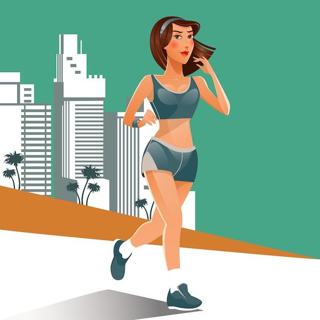 Laufende frau. passendes mädchen, das sportübungen tut. frau läuft am strand. Premium Vektoren