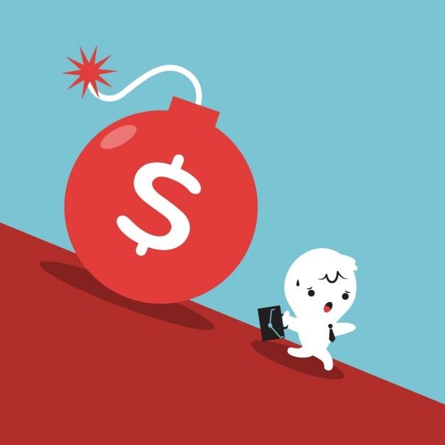 Laufende geschäftsmann aus rollschuldenbombe Kostenlosen Vektoren