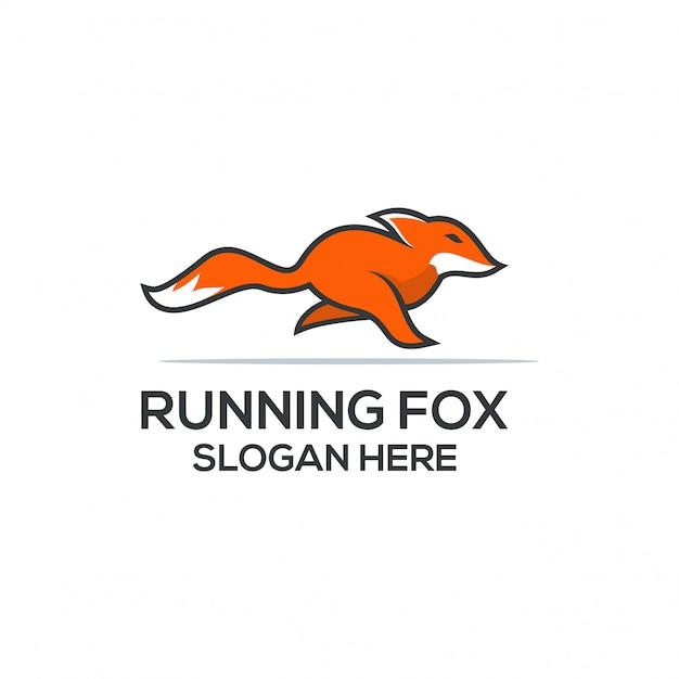 Laufendes fuchs-logo Premium Vektoren