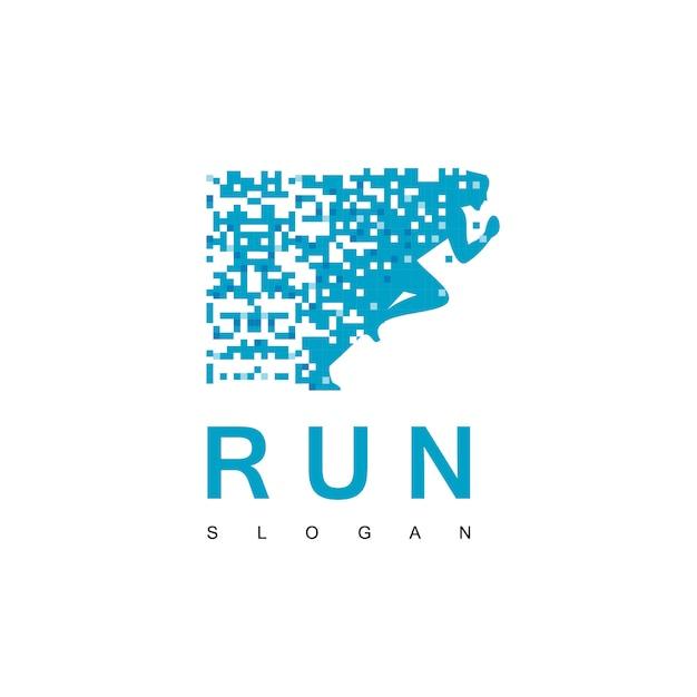 Laufendes pixel logo design Premium Vektoren