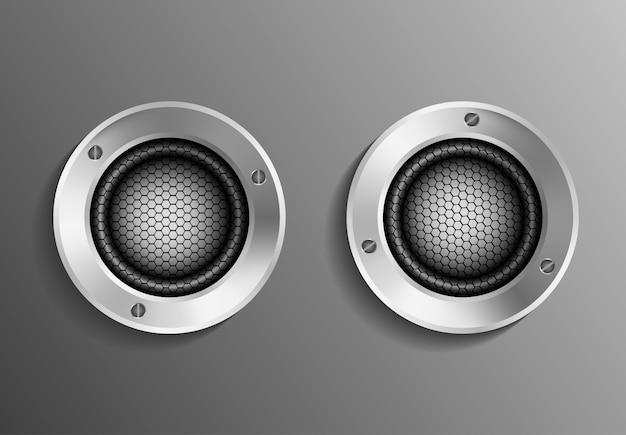 Lautsprecher realistisch, musikstudio-system, volumen elektronische leistung design illustration rekord mixerbox benutzerdefinierte musical Premium Vektoren