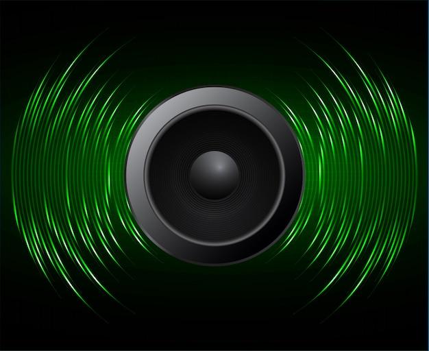 Lautsprecher schallwellen oszillieren dunkelgrünes licht Premium Vektoren