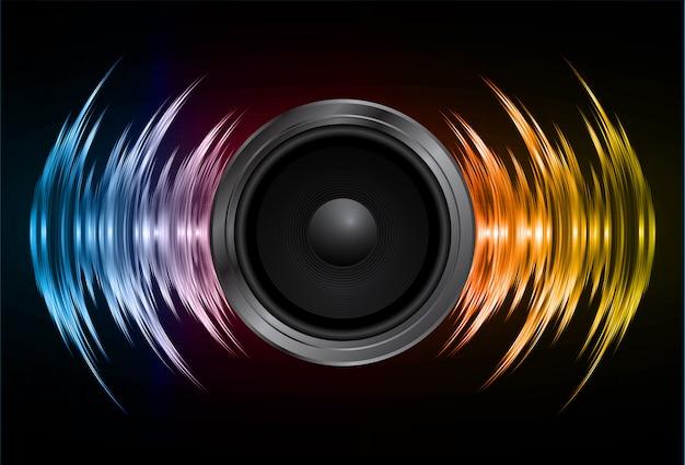 Lautsprecher und schallwellen oszillieren dunkelblau gelb Premium Vektoren