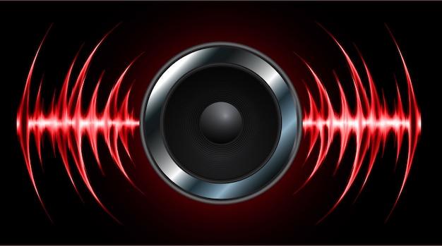 Lautsprecher und schallwellen oszillieren dunkelrotes licht Premium Vektoren