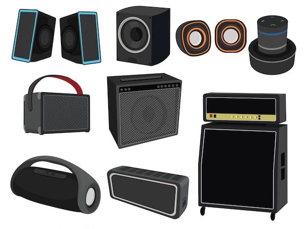 Lautsprecherset zum musikhören. sammlung von geräten zur tonverstärkung. Premium Vektoren