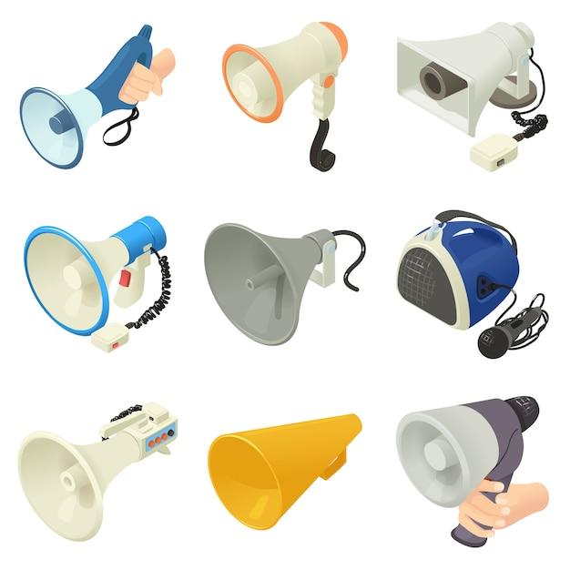 Lautsprechersymbole des megaphons eingestellt. isometrische illustration von 16 alkoholsprecherlogo-vektorikonen des lautsprechers des megaphons für netz Premium Vektoren