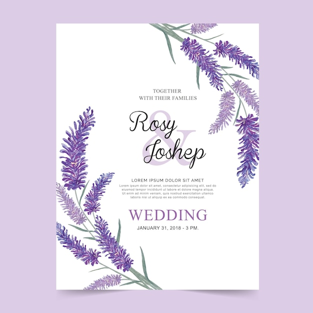 Lavendel blumen aquarell hochzeitskarte. Premium Vektoren